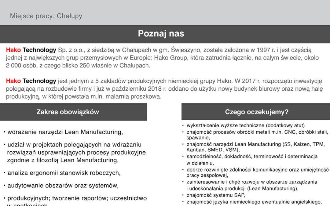 Praca: Specjalista ds. Lean Manufacturing